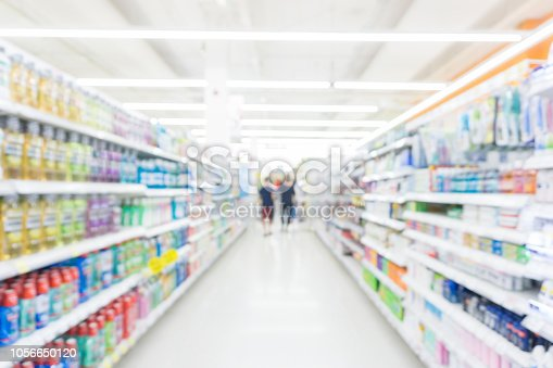 istock Abstrack blurred bokeh supermarket with food and drink on shelf 1056650120