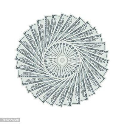 istock Abstrack spinning stack of money 100 US dollars on white background with clipping path. 869226636