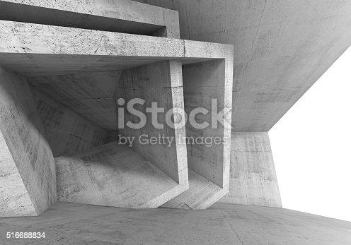516688156istockphoto Abstract 3 d Concrete room interior 516688834