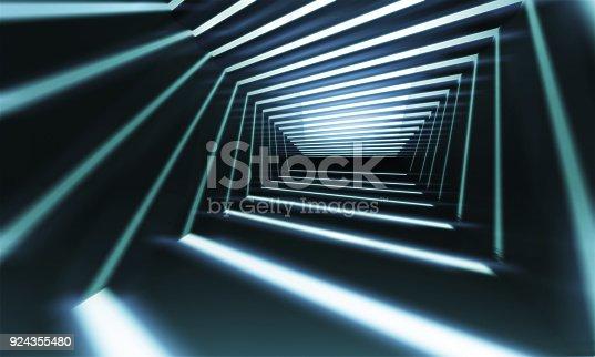 istock Abstract 3 d corridor perspective 924355480