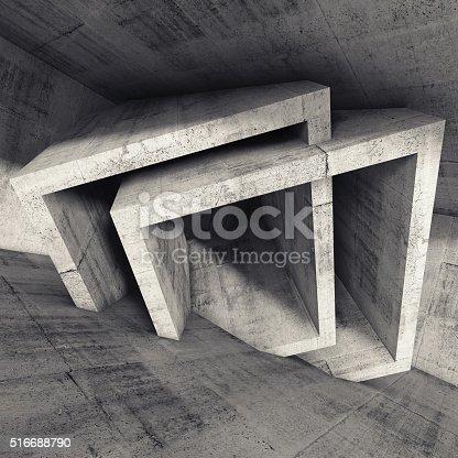 516688156istockphoto Abstract 3 d render, concrete room interior 516688790
