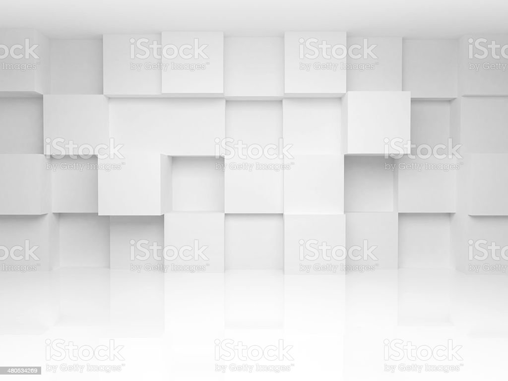 Abstract 3d architecture background with white cubes on the wall​​​ foto