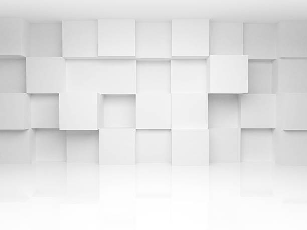 abstract 3d architecture background with white cubes on the wall - küp şekil stok fotoğraflar ve resimler