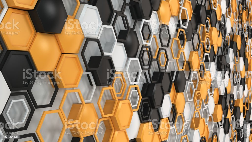 Abstract 3d background made of black, white and orange hexagons on white background stock photo