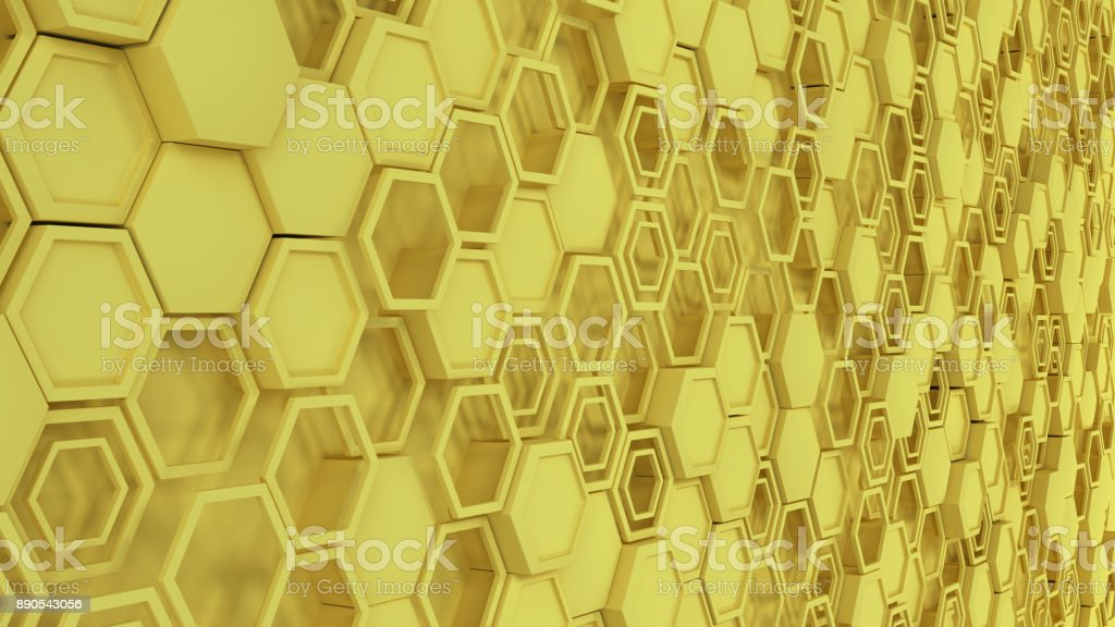 Abstract 3d background made of yellow hexagons stock photo