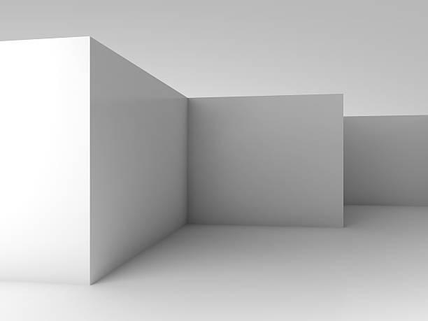 抽象的な 3 D 背景、白い空白ルームのインテリア ストックフォト