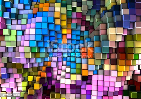 Abstract 3d background with different cubes
