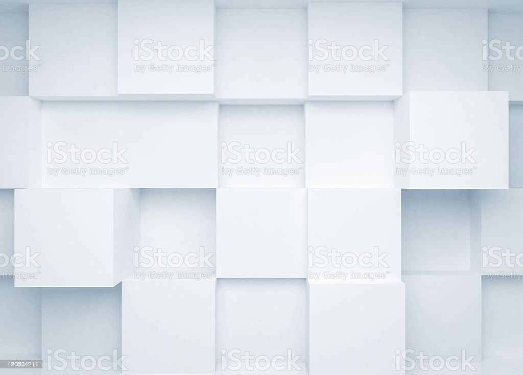 Abstract 3d background with white cubes on the wall stock photo