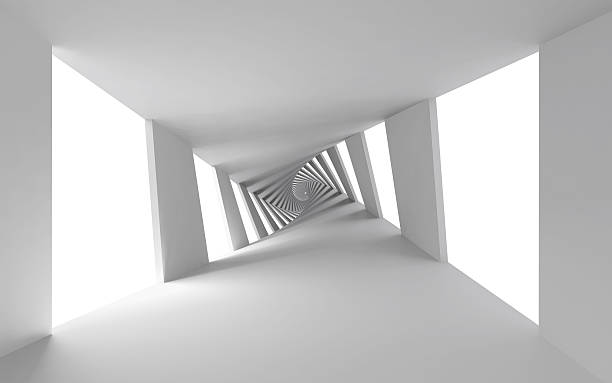 abstract 3d background with white twisted spiral corridor - illusion stock photos and pictures