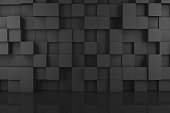 3d rendering of abstract black color cubes on wall. Minimal architecture.