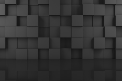 822063742 istock photo Abstract 3D Black Cube Wall Background 1138009866