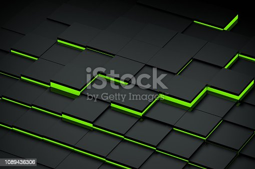 871774704 istock photo Abstract 3D Black Cubes Background with blue lights 1089436306
