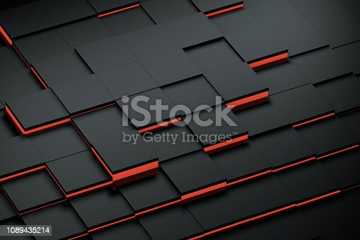 871774704istockphoto Abstract 3D Black Cubes Background with red lights 1089435214