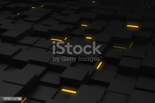 871774704 istock photo Abstract 3D Black Cubes Background with yellow lights 1070114796
