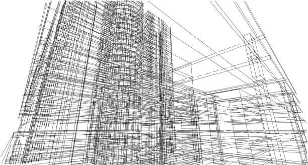 Abstract 3D building wireframe structure. Illustration construction graphic idea , Architectural sketch idea. stock photo