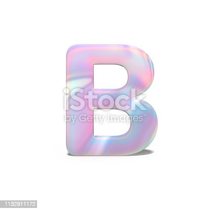 845304606 istock photo Abstract 3d capital letter B in bright holographic design. Realistic shiny alphabet on neon blue pink font, isolated white background. 3d rendering. 1132911172