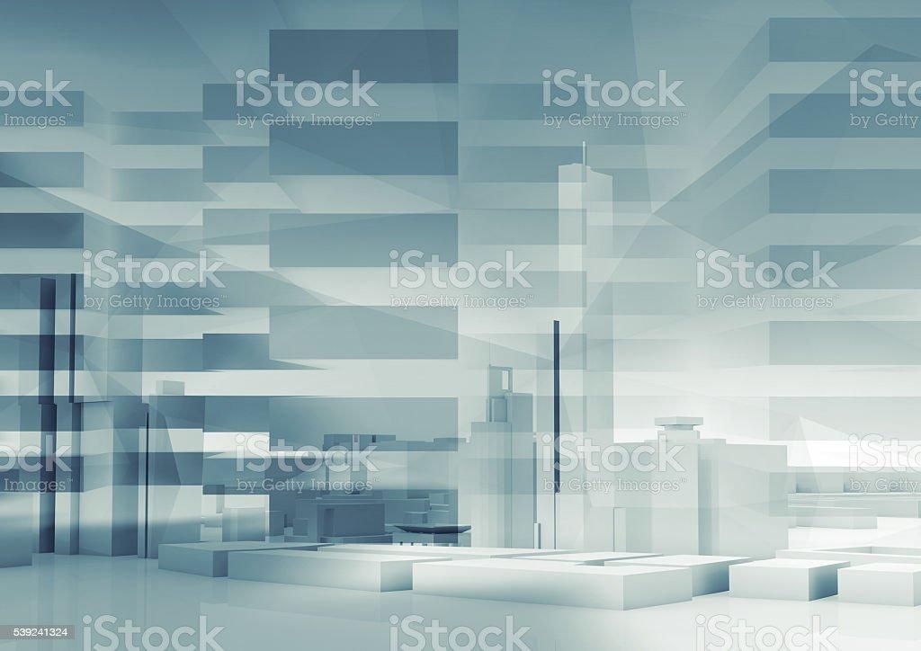 Abstracto fondo 3d de la ciudad. paisaje urbano foto de stock libre de derechos