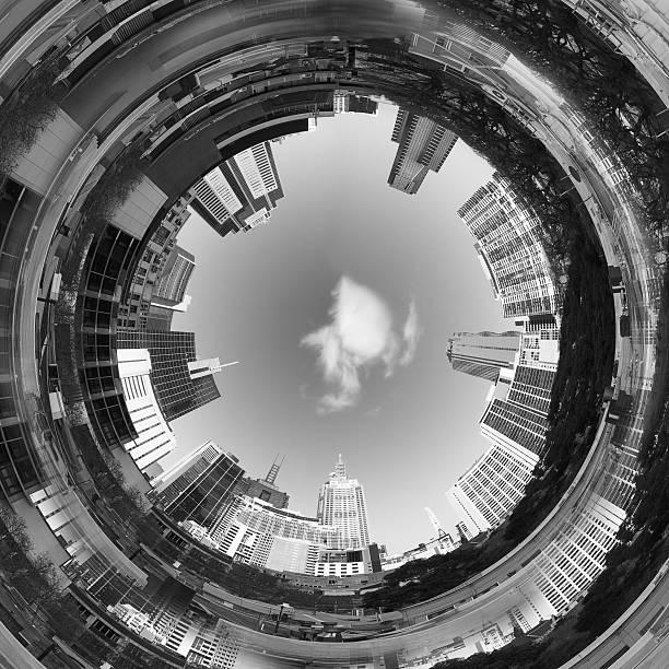 abstrakt 3d-city-tunnel - kleinstadt ansicht stock-fotos und bilder