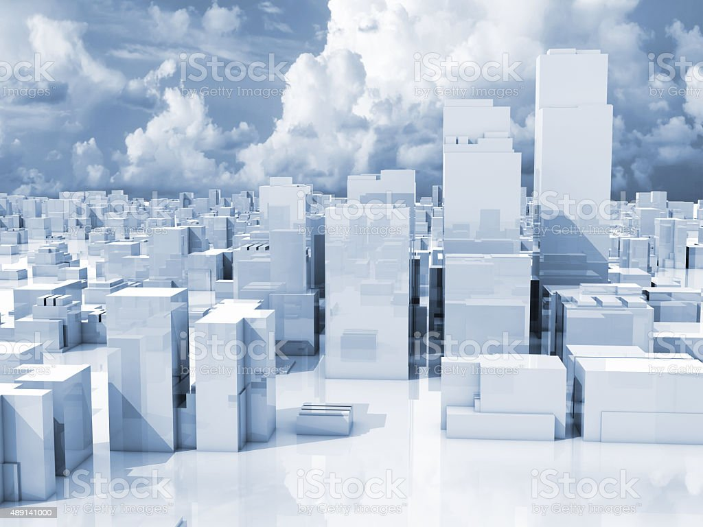 Abstract 3d cityscape, skyline of skyscrapers stock photo