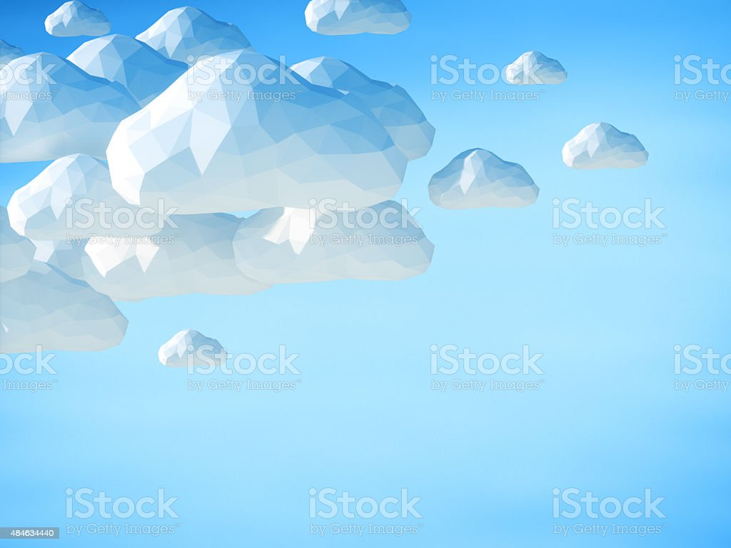 Abstract 3D clouds on blue sky background stock photo