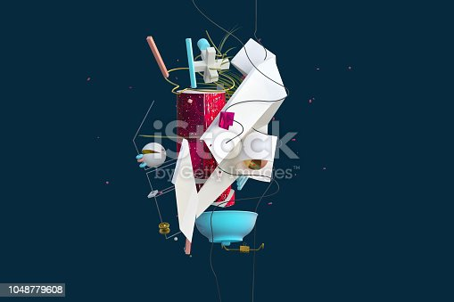 Abstract expressive stylish composition with strange things and shapes isolated on dark, high resolution 3D render