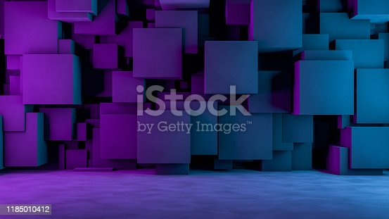 822063742istockphoto Abstract 3D Concrete Cube Background with Neon Lights 1185010412