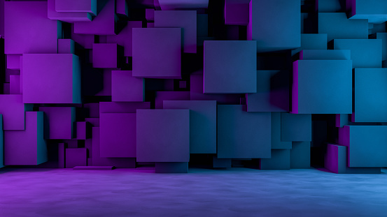 822063742 istock photo Abstract 3D Concrete Cube Background with Neon Lights 1185010412