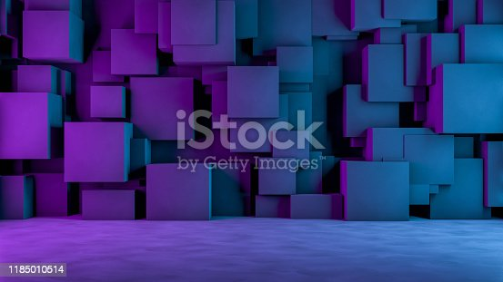 822063742istockphoto Abstract 3D Concrete Cube Background with Neon Lights 1185010514