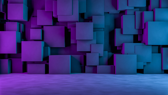 822063742 istock photo Abstract 3D Concrete Cube Background with Neon Lights 1185010514