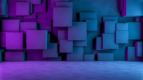 822063742 istock photo Abstract 3D Concrete Cube Background with Neon Lights 1185010562