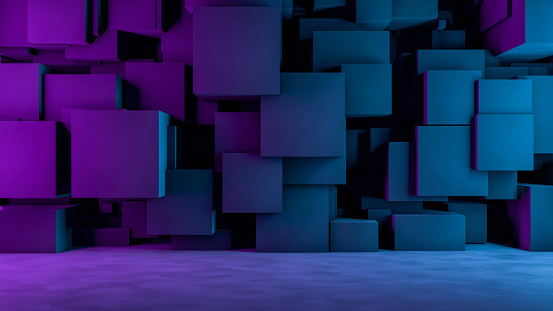 822063742 istock photo Abstract 3D Concrete Cube Background with Neon Lights 1185010668