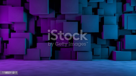 822063742istockphoto Abstract 3D Concrete Cube Background with Neon Lights 1185011311