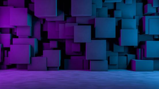 822063742 istock photo Abstract 3D Concrete Cube Background with Neon Lights 1185011311
