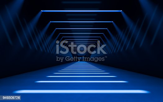 Abstract 3d corridor interior design with linear light. 3d rendering