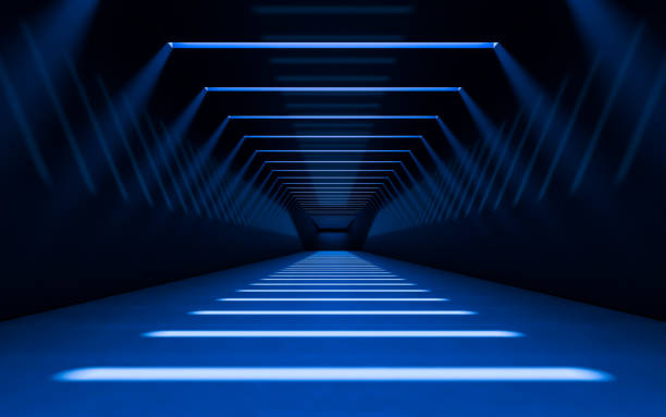 abstract 3d corridor - diminishing perspective stock photos and pictures