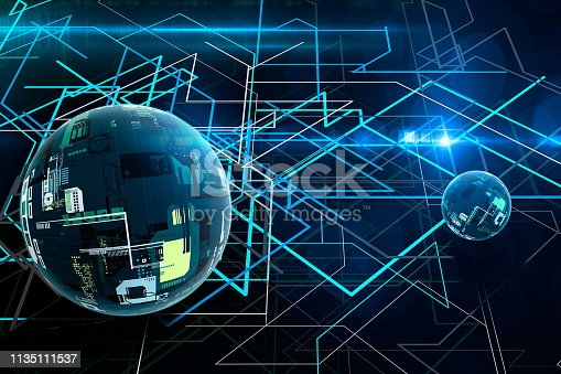 istock Abstract 3D cryptography and big data ball. Modern communication technology. Line background 1135111537