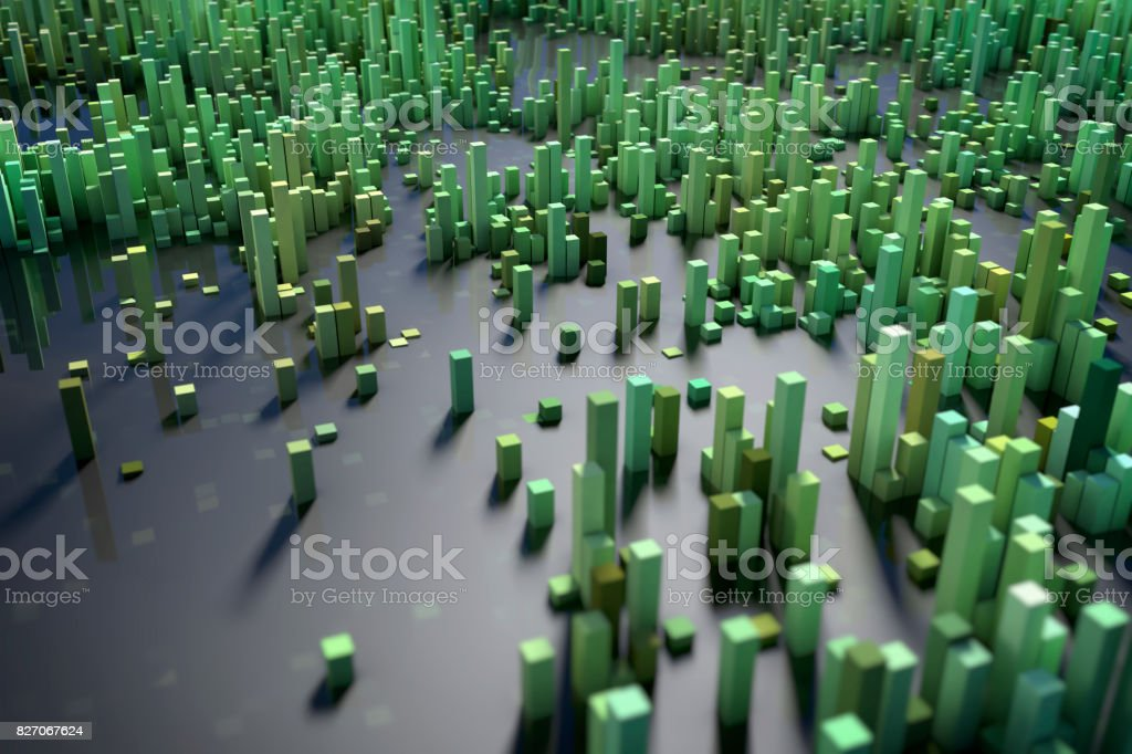 Abstract 3D Cube Geometry City Background stock photo
