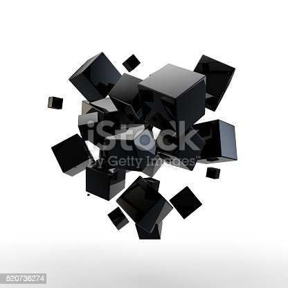 3D rendering of abstract hovering flying geometric cubes.