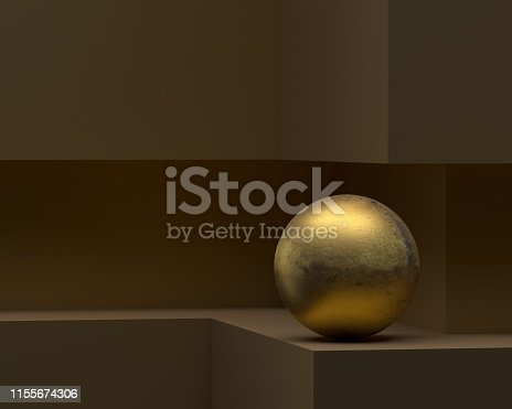 Golden sphere on the the 3d geometry shape.