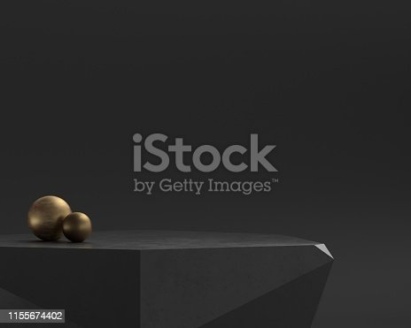 3d render representing interesting black stone stand for something.