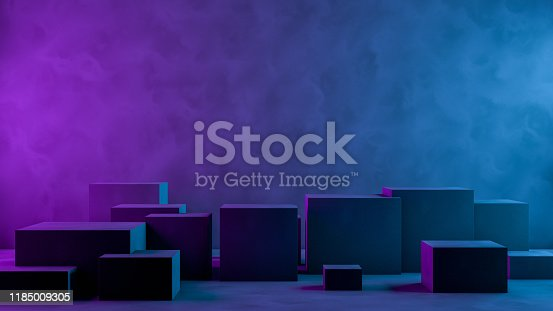822063742istockphoto Abstract 3D Empty Cube Podium Background with Neon Light 1185009305