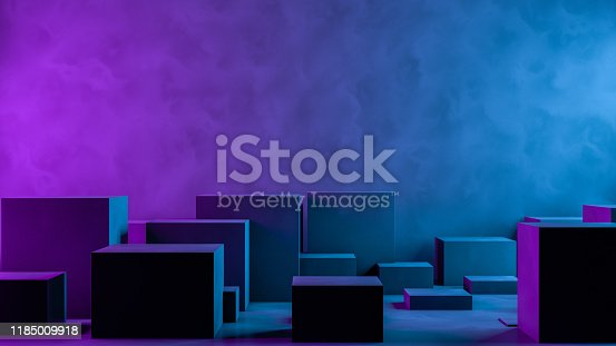 822063742istockphoto Abstract 3D Empty Cube Podium Background with Neon Light 1185009918