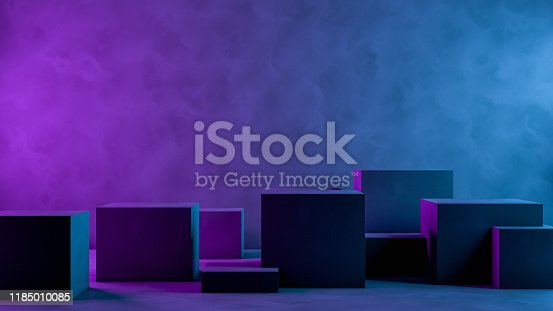 822063742istockphoto Abstract 3D Empty Cube Podium Background with Neon Light 1185010085