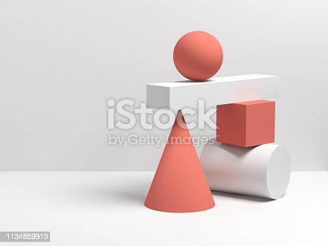 950775710 istock photo Abstract 3d equilibrium still life installation 1134859913