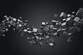 Abstract black 3D flowing cube background.