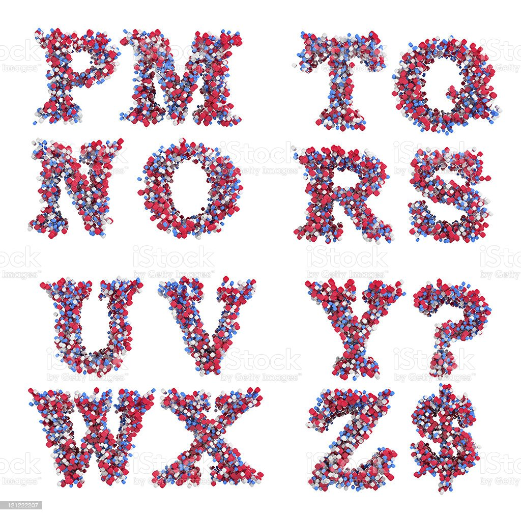 Abstract 3D font M-Z letters and symbols stock photo