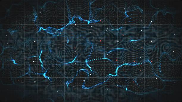 abstrakte 3d form von elektromagnetischen wellen - frequenz stock-fotos und bilder