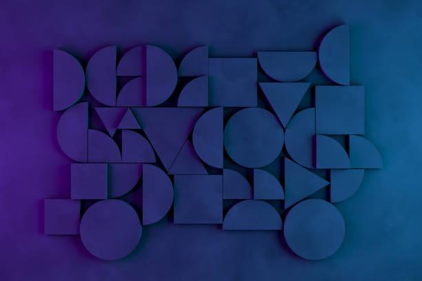 abstract 3d geometric shapes black background, neon lights - cilindro formas geométricas imagens e fotografias de stock