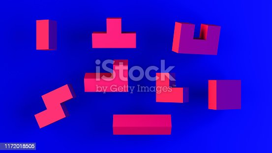 3d rendering of abstract geometric shapes and cube blocks. Neon lights, blue and pink colors.