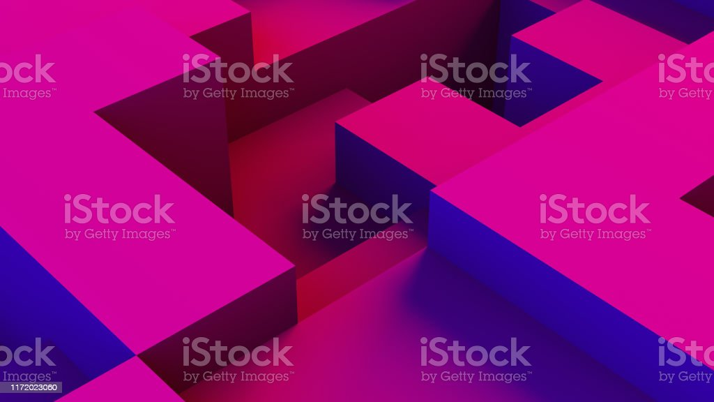 Abstract 3D Geometric Shapes Cube Blocks Background with Neon Lights - Royalty-free Abstract Stock Photo